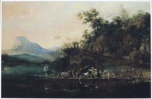 Zuidelijk rivierlandschap met veerboot bij aanlegplaats met twee vechtende ezels en een in het water gevallen reiziger
