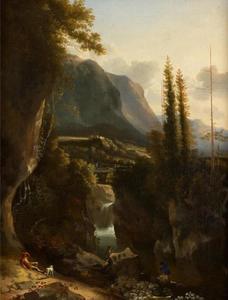 Berglandschap met figuren bij een waterval