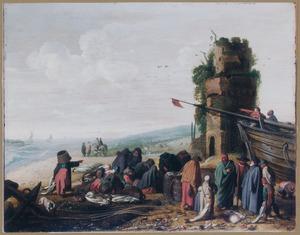 Water: strandgezicht met visafslag nabij een toren