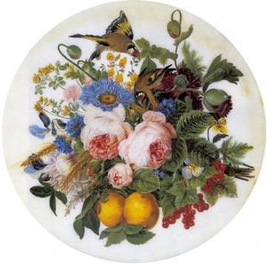 Stilleven van een boeket bloemen, fruit, granen en twee vogels