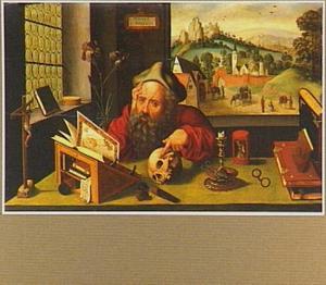 De H. Hieronymus in zijn studeervertrek met in de achtergrond een landschap met de geschiedenis van de gestolen ezel