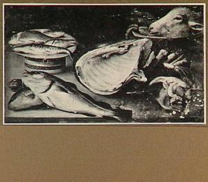 Visstilleven met schaapskop