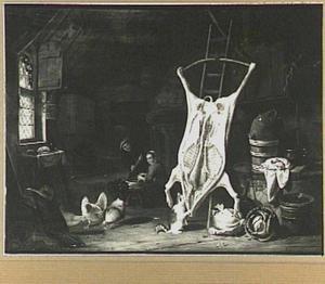 Stalinterieur met geslacht varken en een man en vrouw bij een vijzel