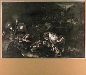 Bosstilleven met een slang, kikkers en een krab