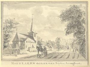 Hoevelaken, gezicht in het dorp met de kerk vanuit het noordoosten