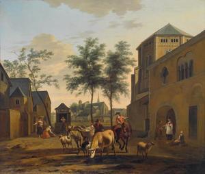Fantasiegezicht in Keulen met een veedrijver en vrouwen bij een waterput met de kerken St. Gereon en St. Pantaleon