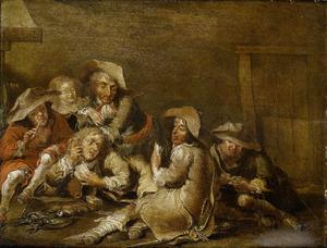 Rokende en kaartende soldaten in een wachtlokaal