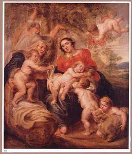 De H. Familie met Elisabeth en Johannes de Doper als kind