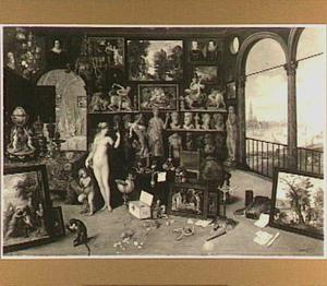 Allegorie van het gezicht (een van de vijf zintuigen): Venus en Cupido in een kunstgalerij