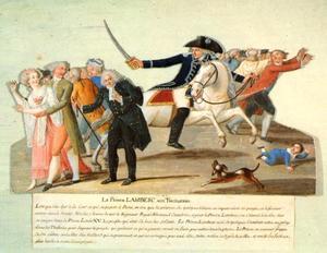 Prins Lambesc rijdt in op de menigte in het Thuilerieën park op 12 juli 1789