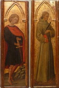 Twee panelen van een veelluik met Petrus van Siena en de heilige Galganus