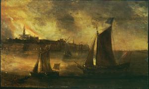 Rivierlandschapmet schepen voor een brandende stad