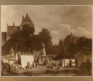 Gezicht op de steenhouwerij op 't Amstelveld, in het verschiet een gedeelte van de Prinsengracht te Amsterdam
