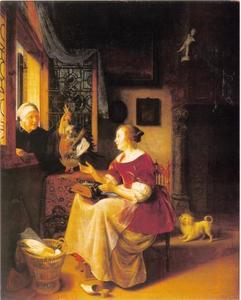 Vrouw die een haan verkoopt aan een kantmaakster