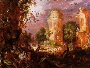 Boslandschap met vogels bij een meer omringd door ruïnes