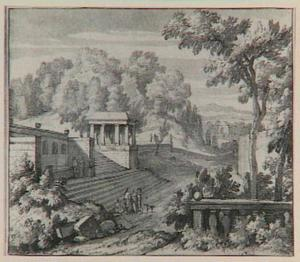 Italianiserend landschap met fonteinhuis