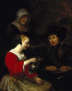 Interieur met een jonge vrouw die haar glas vult, met een soldaat en een dienstmeid