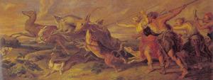 Diana met haar gevolg op de hertenjacht