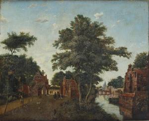 Landschap met wandelaars langs de rand van een stad