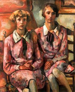 Dubbelportret van Christina Maria Cornelia Wiegman (1913-?) en Margaretha Johanna Maria Wiegman (1914-?)