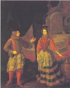 Dubbelportret van keurvorst Johann Wilhelm van de Palts en Anna Maria Luisa de Medici op een hofbal