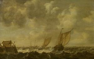 Zeegezicht met enkele schepen in een havenmonding