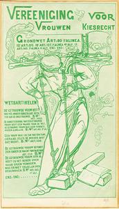 Omslag brochure voor de Vereeniging voor Vrouwen Kiesrecht