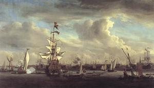 Het voormalige vlaggenschip van Cornelis Tromp 'De Gouden Leeuw' op het IJ voor Amsterdam