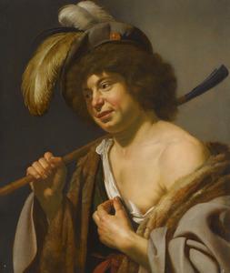 Jongeman met herdersstaf in arcadisch kostuum