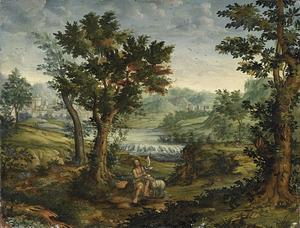 Rivierlandschap met Johannes de Doper
