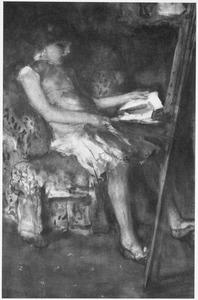 Mogelijk de dochter van de schilder zittend in een armstoel bij een schildersezel