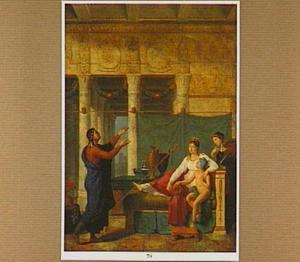 Een dichter draagt de heldendaden van een strijder voor ten overstaan van de echtgenote en zijn zoon