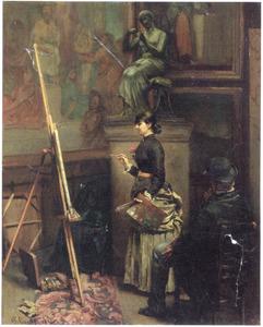 Een kopiiste aan het werk in de Galeries du Luxembourg te Parijs