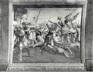 David onthoofdt Goliat met zijn eigen zwaard  (1 Samuël 17:51)