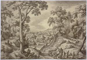 Heuvellandschap met Elisa die de kinderen van Betel , die hem om zijn kaalheid bespotten vervloekt: zij worden door twee beren verscheurd  (2 Koningen 2: 23-25)