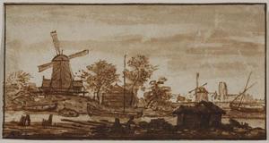 Landschap met molens aan een kanaal