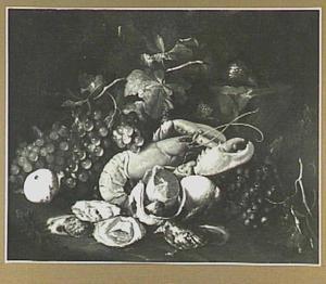 Druiven, citroenen, kreeft en oesters in een landschap