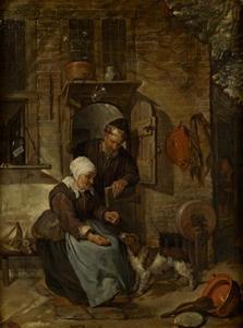 Oud echtpaar met een hond