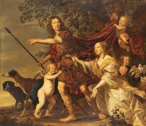 Groepsortret van een man, een vrouw en een meisje met putti als Venus die Adonis tracht te weerhouden ter jacht te gaan