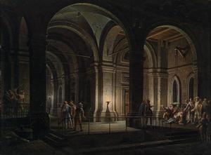 Gevangenis met figuren in 17e-eeuws kostuum