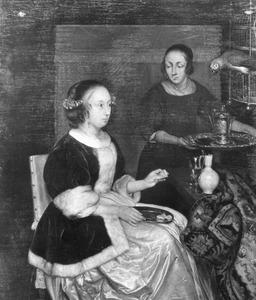 Vrouw met een dienstmeid en papegaai