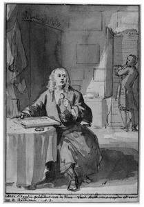 Portret van de verzamelaar Arnout Leers (1698-1766) in zijn kunst- en naturaliënkabinet