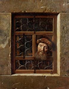 Oude man in een venster