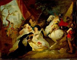 Coriolanus wordt opgewacht door zijn vrouw Volumnia met hun twee kleine zoons en zijn moeder Veturia / Volumnia); ze smeken hem niet langer tegen Rome te vechten