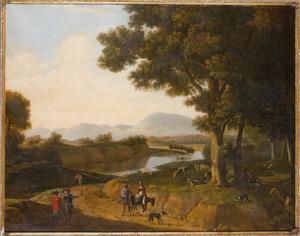 Zuidelijk landschap met rustende herders en reizigers op een weg langs een rivier