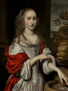 Portret van een 19-jarige vrouw bij een fontein
