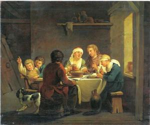 Woonhuis interieur met een familie aan een tafel