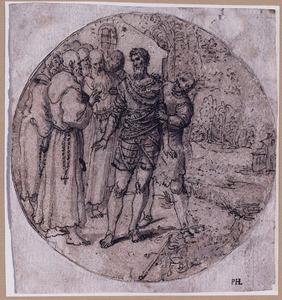 Een vastgebonden soldaat bij monniken