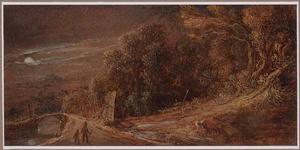 Boslandschap met brug bij maannlicht