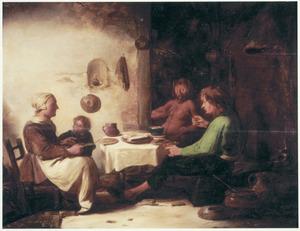 Boerenfamilie met sater in een interieur: De sater en de boer (Aesopus)
